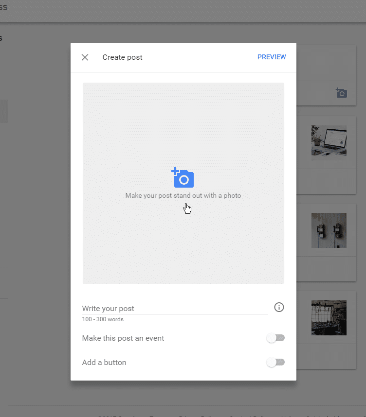 Google My Business listing new posts feature, step 1.